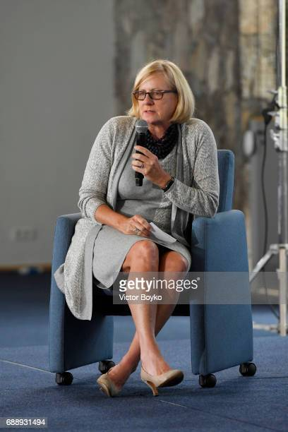 Former US Deputy National Security Advisor and Ambassador to the United Nations Nancy Soderberg during the Galvanizing the World Session at the...