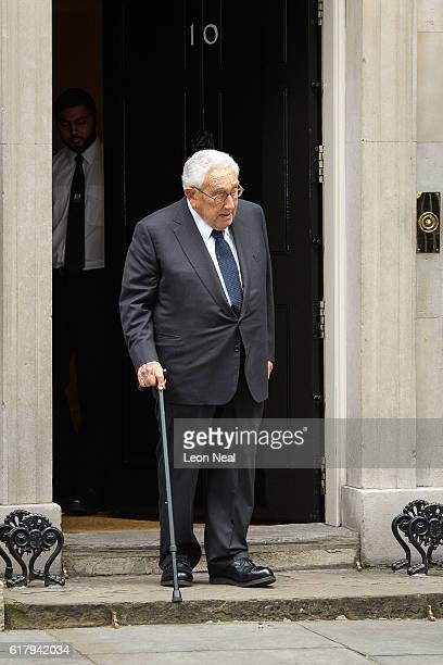 Former US Diplomat Henry Kissinger leaves following a meeting with British Prime Minister Theresa May at 10 Downing Street on October 25 2016 in...