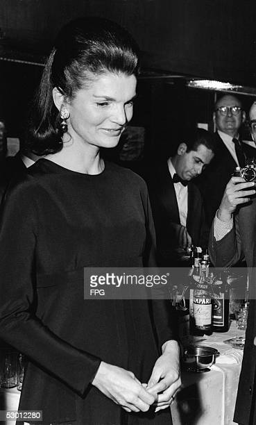 Former US first lady Jacqueline Kennedy Onassis hosts a reception and presentation for copies of the book 'Oratorio Dominica' donated by the Italian...