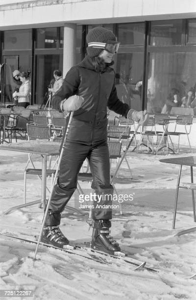 Former US First Lady Jacqueline Kennedy Onassis on the slopes during a holiday at the ski resort of CranssurSierre Switzerland 27th December 1974