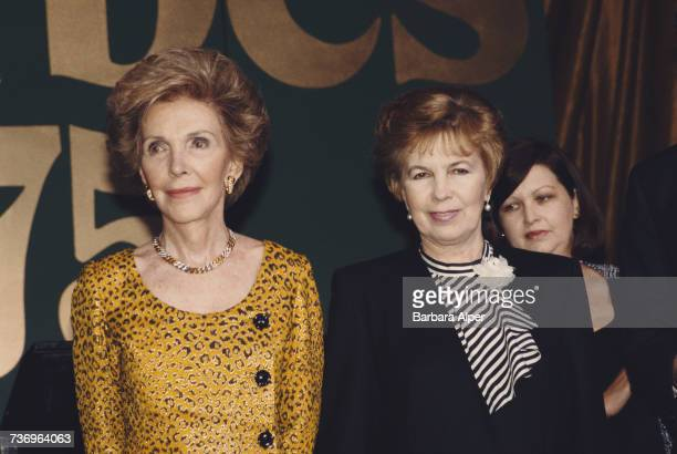 Former US First Lady Nancy Reagan and Raisa Gorbachev wife of former Soviet leader Mikhail Gorbachev at the Forbes Magazine 75th Anniversary...