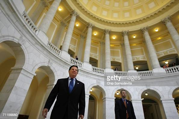 Former US House of Representatives majority leader Tom Delay walks through the rotunda of the Cannon House Office Building on his way to the Capitol...
