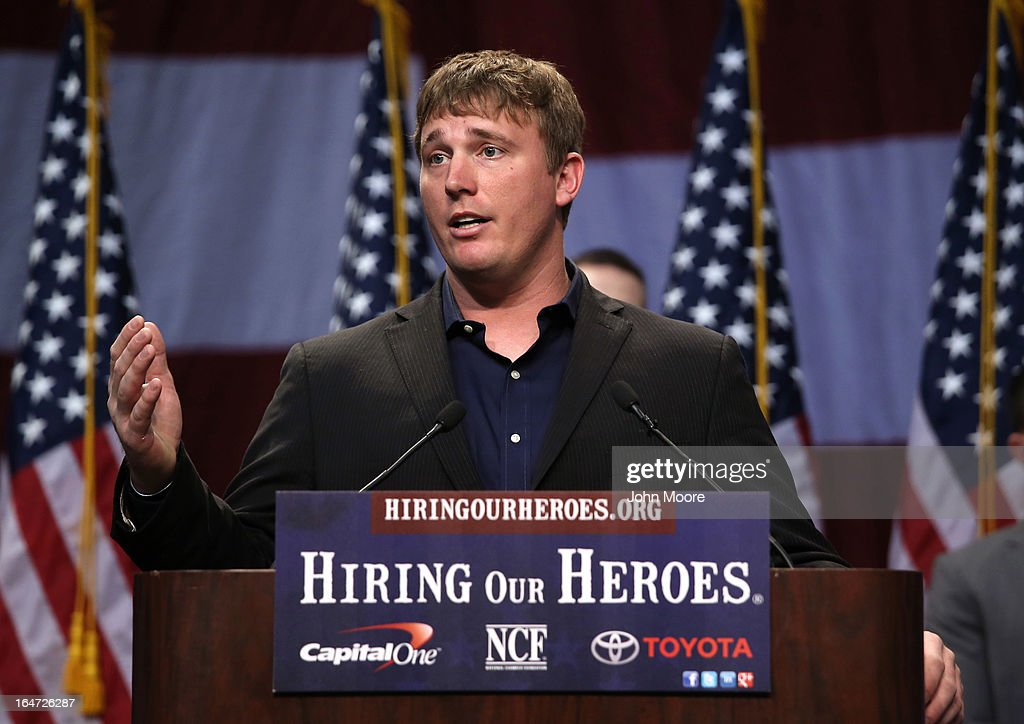 Former U.S. Marine and Medal of Honor recipient <a gi-track='captionPersonalityLinkClicked' href=/galleries/search?phrase=Dakota+Meyer&family=editorial&specificpeople=7618000 ng-click='$event.stopPropagation()'>Dakota Meyer</a> speaks at the Hiring Our Heroes job fair held on March 27, 2013 in New York City. Hundreds of veterans and their spouses turned out to meet more than 100 employers participating at the second annual event, hosted by the U.S. Chamber of Commerce National Chamber Foundation. Lead sponsors were Capital One Financial Corporation and Toyota.