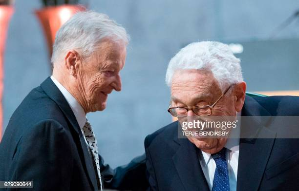 Former US National Security Advisor Zbigniew Brzezinski and Former US Secretary of State Henry Kissinger are pictured at the Nobel Peace Prize Forum...
