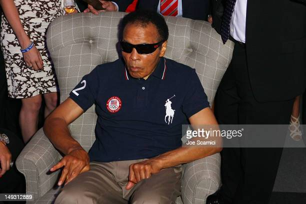 Former US Olympic boxer Muhammad Ali attends the US Olympic Committee Benefit Gala at USA House at the Royal College of Art on July 26 2012 in London...