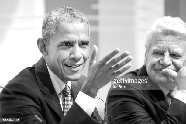 Former US president Barack Obama and former German president Joachim Gauck during the German Media Award 2016 at Kongresshaus on May 25 2017 in...