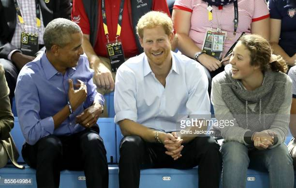 Former US President Barack Obama and Prince Harry on day 7 of the Invictus Games 2017 on September 29 2017 in Toronto Canada