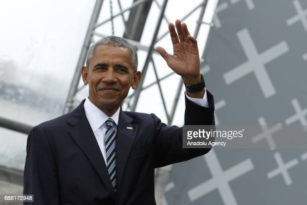 Former US President Barack Obama attends the Panel discussion Demokratie gestalten during the Event of the Church Days to celebrate 500 years...