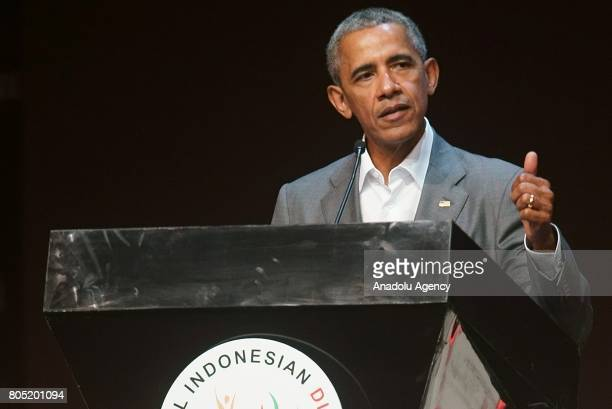 Former US President Barack Obama delivers a speech during the 4th Congress of the Indonesian Diaspora in Jakarta Indonesia on July 01 2017 Obama and...