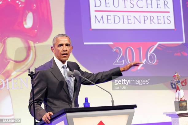 Former US president Barack Obama during the German Media Award 2016 at Kongresshaus on May 25 2017 in BadenBaden Germany The German Media Award has...