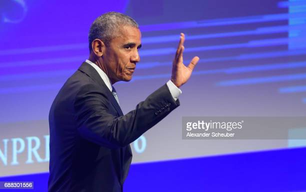 Former US president Barack Obama is seen during the German Media Award 2016 at Kongresshaus on May 25 2017 in BadenBaden Germany The German Media...