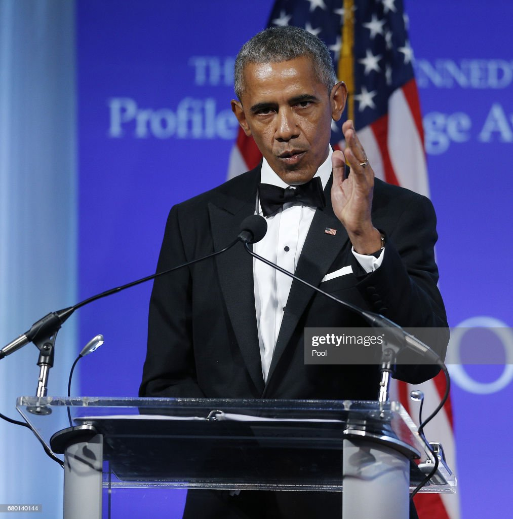 Former U.S. President Barack Obama speaks after receiving the 2017 John F. Kennedy Profile In Courage Award from Caroline Kennedy at the John F. Kennedy Library May 7, 2017 in Boston, Massachusetts. Obama was honored for 'his enduring commitment to democratic ideals and elevating the standard of political courage in a new century,' with specific mention of his expansion of healthcare options, his leadership on confronting climate change and his restoration of diplomatic relations with Cuba.