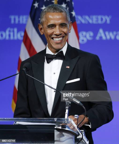 Former US President Barack Obama speaks after receiving the 2017 John F Kennedy Profile In Courage Award from Caroline Kennedy at the John F Kennedy...
