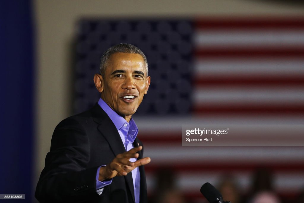 Former U.S. President Barack Obama speaks at a rally in support of Democratic candidate Phil Murphy, who is running against Republican Lt. Gov. Kim Guadagno for the governor of New Jersey, on October 19, 2017 in Newark, New Jersey. In Obama's first return to the campaign trail, the former president is stumping for Democratic gubernatorial candidates in New Jersey and Virginia as they prepare for next month's elections.