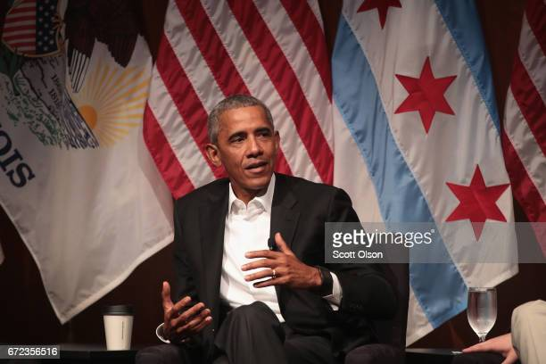 Former US President Barack Obama speaks during a forum at the University of Chicago held to promote community organizing on April 24 2017 in Chicago...