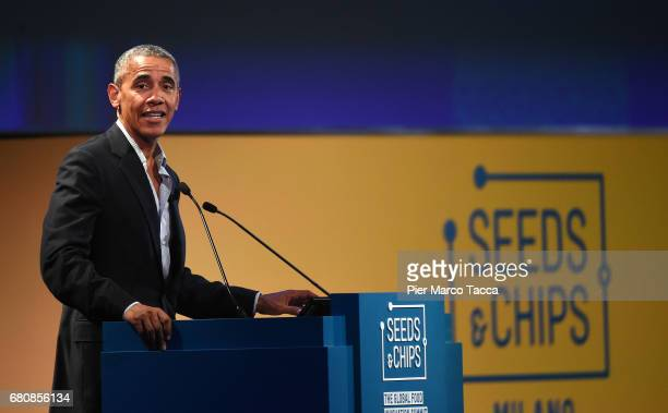 Former US President Barack Obama speaks during the SeedsChips Global Food Innovation Summit on May 9 2017 in Milan Italy The summit which runs from...
