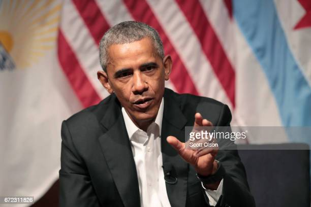 Former US President Barack Obama visits with youth leaders at the University of Chicago to help promote community organizing on April 24 2017 in...
