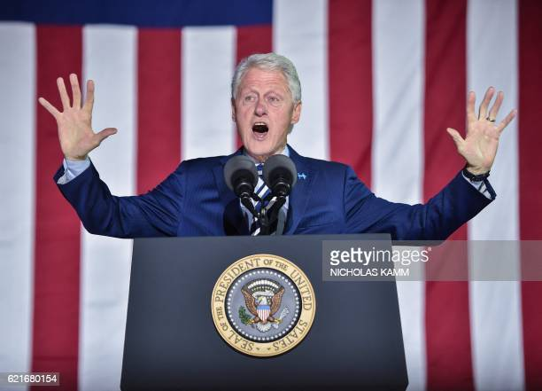 Former US president Bill Clinton addresses a rally for his wife Democratic presidential candidate Hillary Clinton on the final night of the 2016 US...