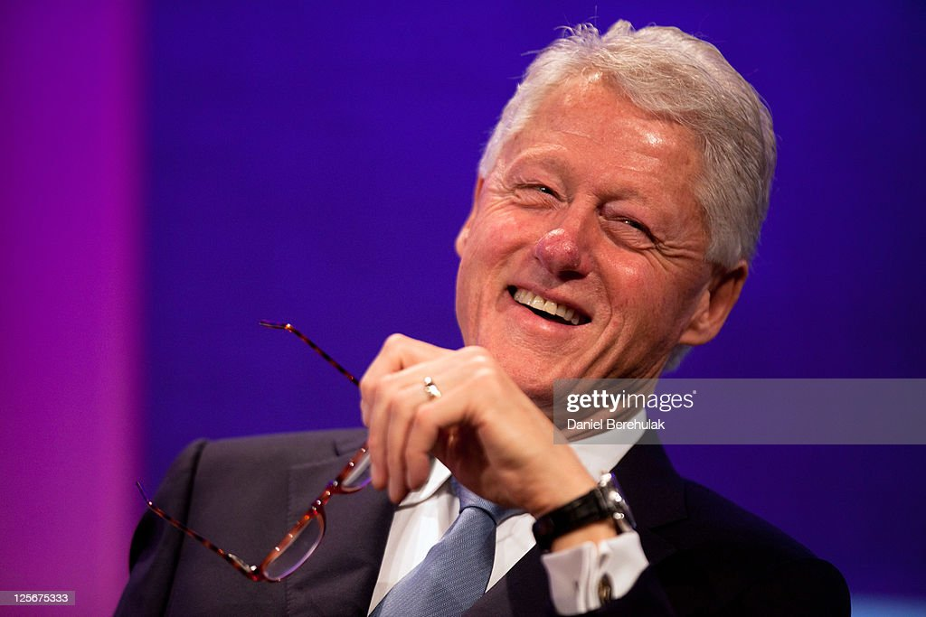 Former U.S. President <a gi-track='captionPersonalityLinkClicked' href=/galleries/search?phrase=Bill+Clinton&family=editorial&specificpeople=67203 ng-click='$event.stopPropagation()'>Bill Clinton</a> addresses the audience during the opening plenary, called Leaders Dialogue on Climate Change, of the seventh annual meeting of the Clinton Global Initiative (CGI) at the Sheraton New York Hotel on September 20, 2011 in New York City. Established in 2005 by former U.S. President <a gi-track='captionPersonalityLinkClicked' href=/galleries/search?phrase=Bill+Clinton&family=editorial&specificpeople=67203 ng-click='$event.stopPropagation()'>Bill Clinton</a>, the CGI assembles global leaders to develop and implement solutions to some of the world's most urgent problems.