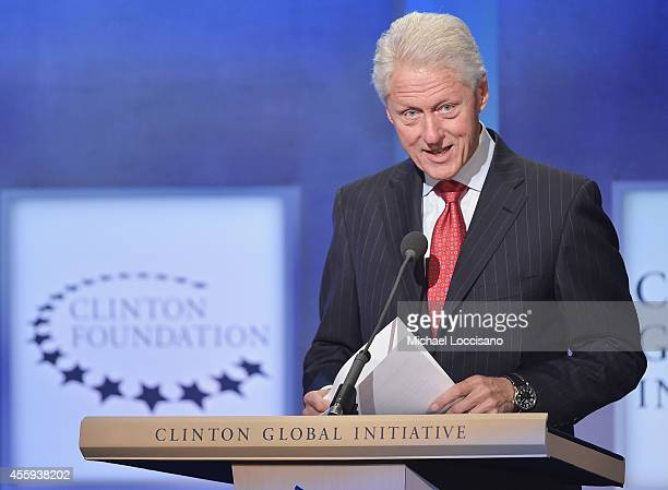 Former US President Bill Clinton addresses the audience during the Opening Plenary Session Reimagining Impact for the Clinton Global Initiative on...