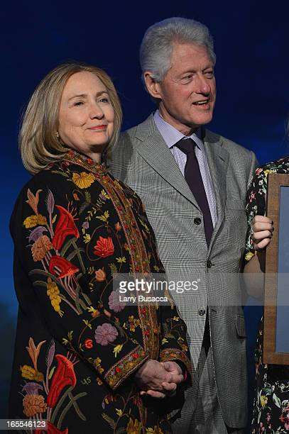 Former US President Bill Clinton and Former US Secretary of State Hillary Clinton attend SeriousFun Children's Network event honoring Liz Robbins...