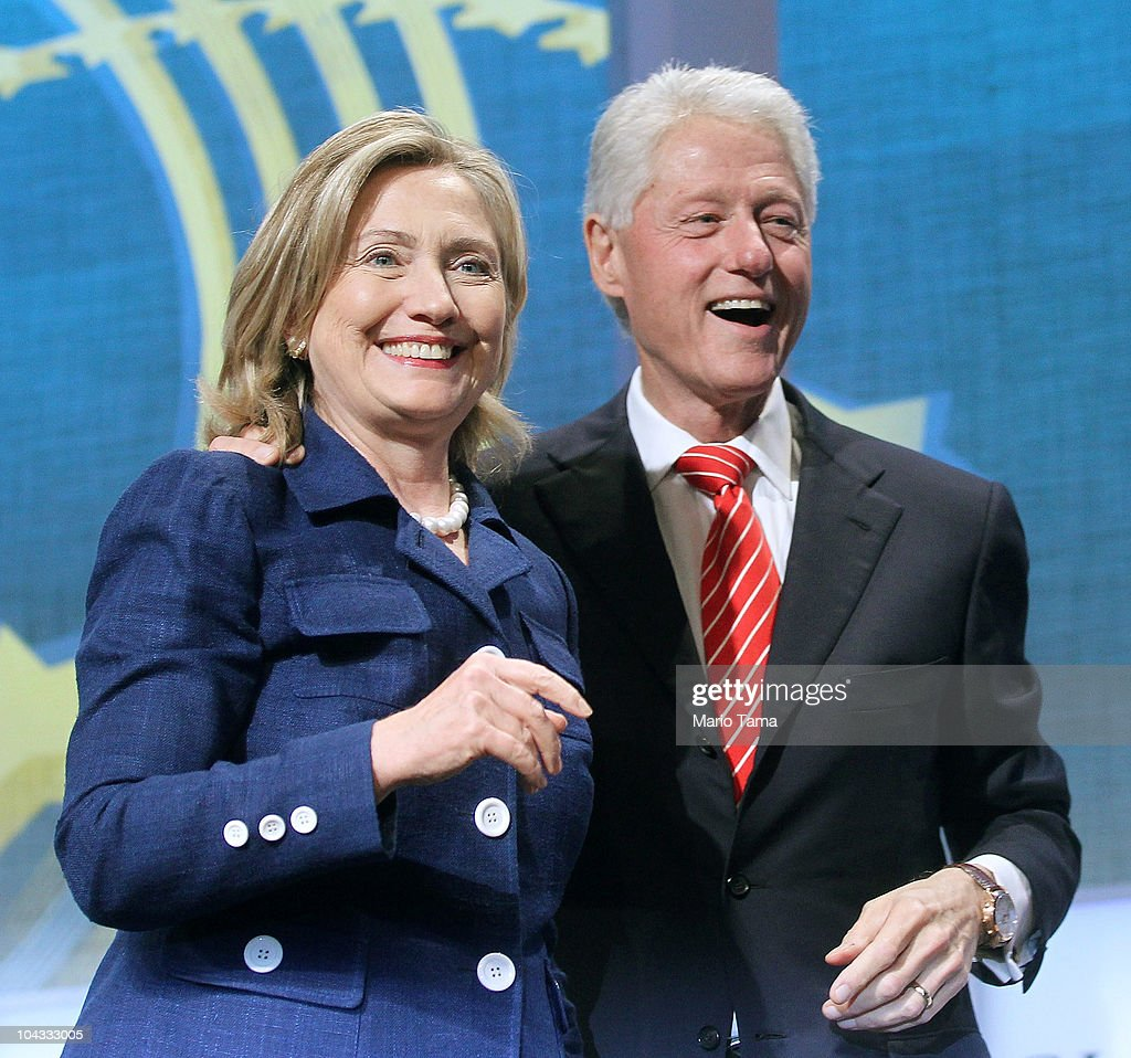 Former U.S. President Bill Clinton (R) and U.S. Secretary of State Hillary Rodham Clinton smile during the annual Clinton Global Initiative (CGI) September 21, 2010 in New York City. The sixth annual meeting of the CGI gathers prominent individuals in politics, business, science, academics, religion and entertainment to discuss global issues such as climate change and the reconstruction of Haiti. The event, founded by Clinton after he left office, is held the same week as the General Assembly at the United Nations, when most world leaders are in New York City.
