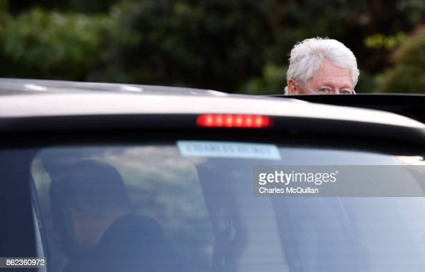 Former US President Bill Clinton arrives at the Culloden Hotel for a private meeting with Northern Ireland political leaders on October 17 2017 in...