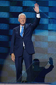 Former US President Bill Clinton arrives on the second day of the 2016 Democratic National Convention at Wells Fargo Center on July 26 2016 in...