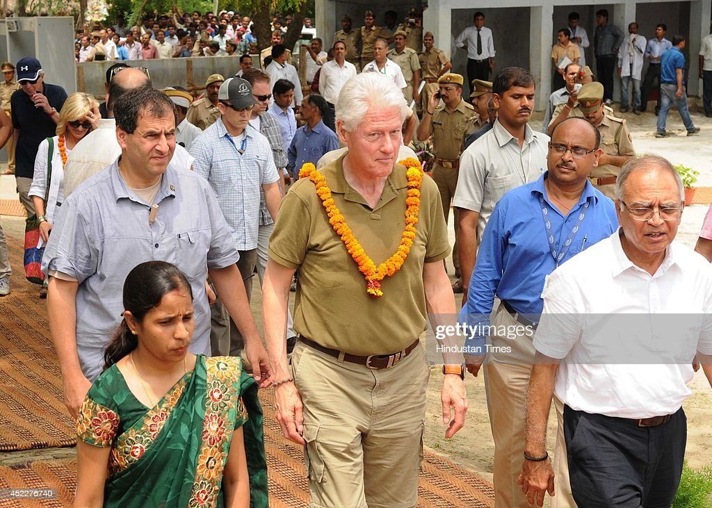 Former US president Bill Clinton at Jabrauli Village to watch the progress of Clinton foundation's Health Initiative programme on July 17 2014 in...