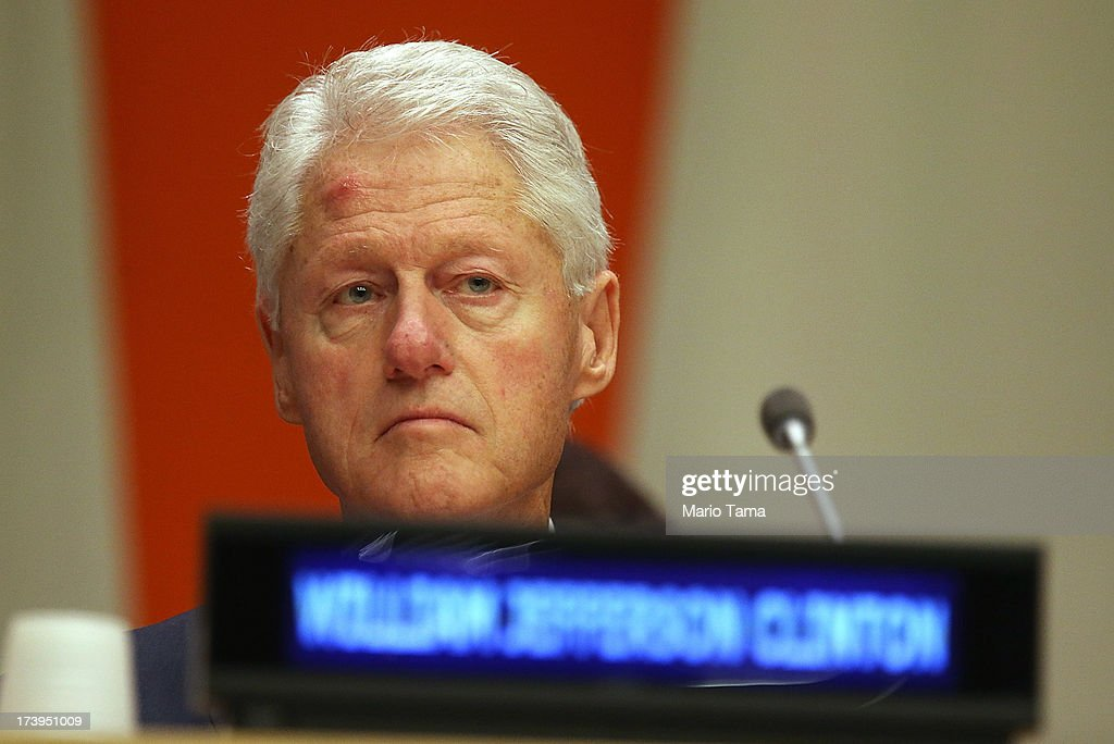 Former U.S. President <a gi-track='captionPersonalityLinkClicked' href=/galleries/search?phrase=Bill+Clinton&family=editorial&specificpeople=67203 ng-click='$event.stopPropagation()'>Bill Clinton</a> attends an informal meeting of the plenary of the General Assembly, on the commemoration of the Nelson Mandela International Day, at U.N. headquarters on July 18, 2013 in New York City. South Africa's first black president and anti-apartheid leader turns 95 today on his 41st day in the hospital.