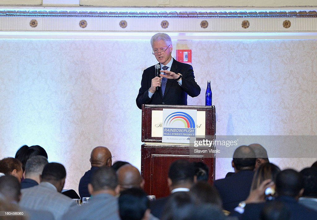Former U.S. President <a gi-track='captionPersonalityLinkClicked' href=/galleries/search?phrase=Bill+Clinton&family=editorial&specificpeople=67203 ng-click='$event.stopPropagation()'>Bill Clinton</a> attends the 16th Annual Wall Street Project 'Access To Captial' luncheon at The Roosevelt Hotel on January 31, 2013 in New York City.