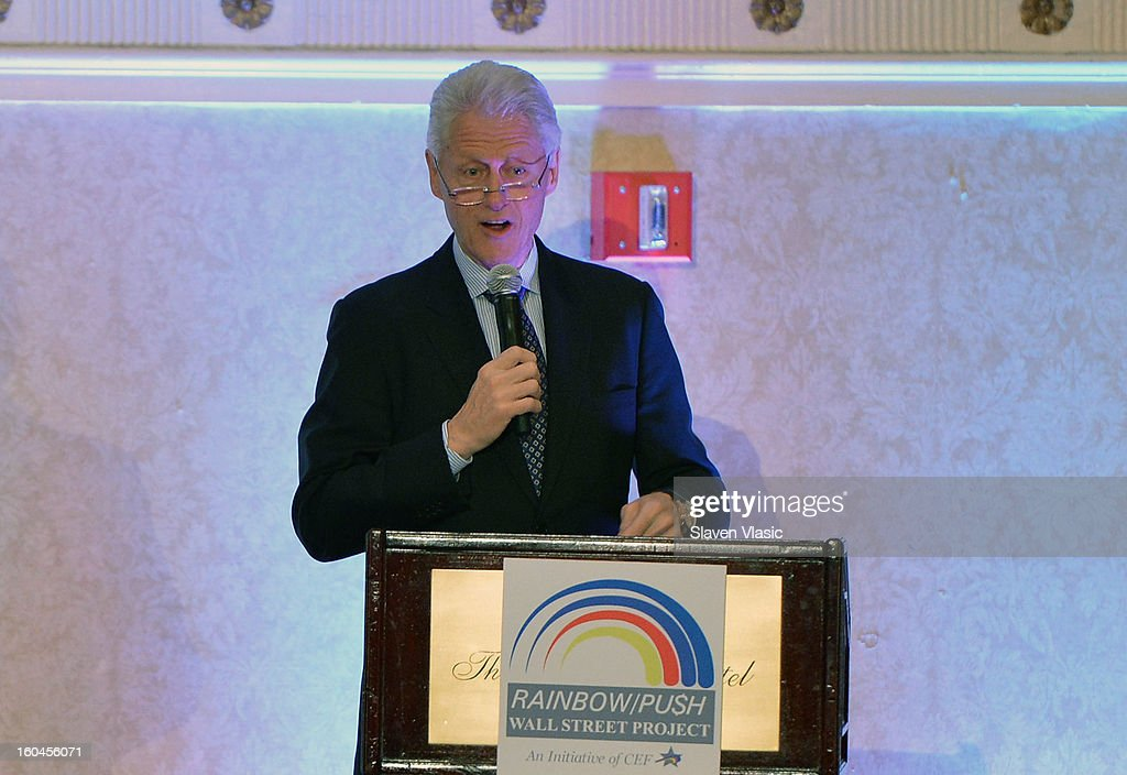 Former U.S. President Bill Clinton attends the 16th Annual Wall Street Project 'Access To Captial' luncheon at The Roosevelt Hotel on January 31, 2013 in New York City.