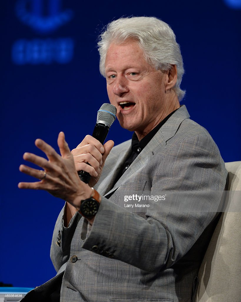 Former US President <a gi-track='captionPersonalityLinkClicked' href=/galleries/search?phrase=Bill+Clinton&family=editorial&specificpeople=67203 ng-click='$event.stopPropagation()'>Bill Clinton</a> attends the Clinton Global Initiative University at University of Miami on March 7, 2015 in Miami, Florida.