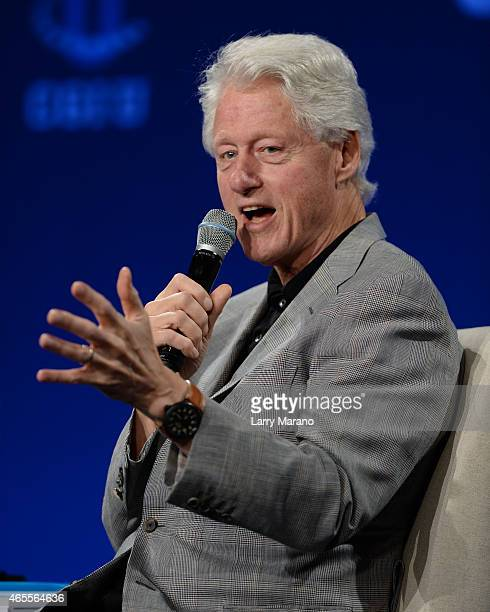 Former US President Bill Clinton attends the Clinton Global Initiative University at University of Miami on March 7 2015 in Miami Florida