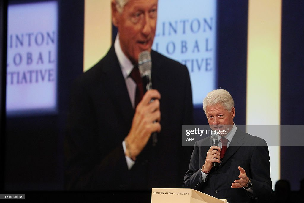 Former US President Bill Clinton attends the Closing Plenary Session of the Clinton Global Initiative (CGI) September 26, 2013 in New York. AFP PHOTO/Mehdi Taamallah