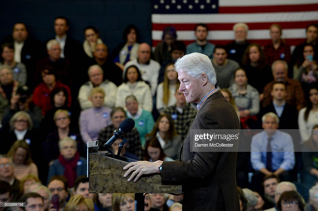 Former U.S. President Bill Clinton campaigns for his wife, Democratic president candidate Hillary Clinton, at Nashua Community College January 4, 2016 in Nashua, New Hampshire. Bill Clinton has come under attack from Republican front runner Donald Trump in recent days.