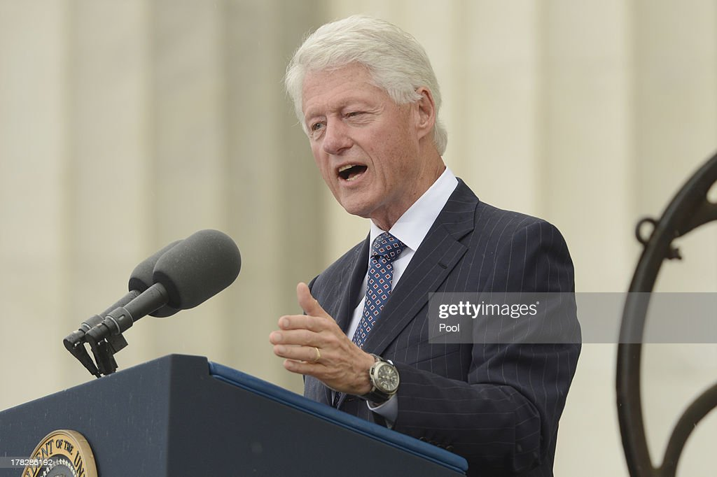 Former US President Bill Clinton delivers remarks during the 'Let Freedom Ring' commemoration event, at the Lincoln Memorial August 28, 2013 in Washington, DC. The event was to commemorate the 50th anniversary of Dr. Martin Luther King Jr.'s 'I Have a Dream' speech and the March on Washington for Jobs and Freedom.