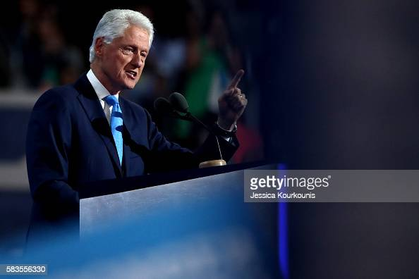 Former US President Bill Clinton delivers remarks on the second day of the Democratic National Convention at the Wells Fargo Center July 26 2016 in...