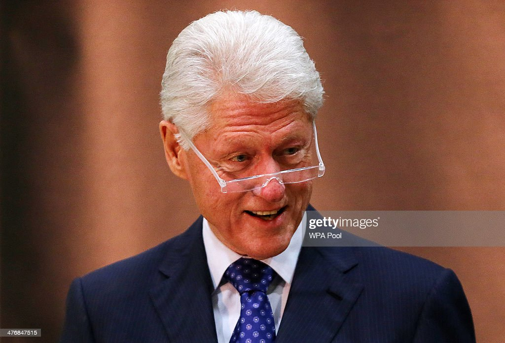 Former US President <a gi-track='captionPersonalityLinkClicked' href=/galleries/search?phrase=Bill+Clinton&family=editorial&specificpeople=67203 ng-click='$event.stopPropagation()'>Bill Clinton</a> delivers the inaugural William J. Clinton Leadership Lecture at Queen's University Belfast on March 5, 2014 in Belfast, Northern Ireland. Clinton was heavily involved in the peace process, especially in the run-up to the signing of the 1998 Good Friday Agreement. During his visit to Northern Ireland Mr Clinton will help launch a new book, 'Peacemaking In The Twenty-First Century' on behalf of the University of Ulster.