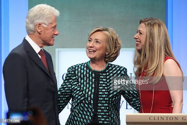 Former US President Bill Clinton Former US Secretary of State Hillary Clinton and daughter Chelsea Clinton attend the Clinton Global Initiative...