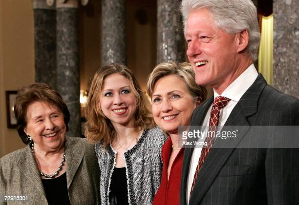Former US President Bill Clinton his wife Sen Hillary Rodham Clinton their daughter Chelsea and the senator's mother Dorothy Rodham pose for...