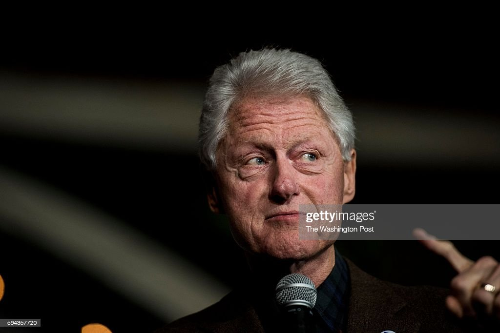 Former US President Bill Clinton introduces his wife former Secretary of State Hillary Clinton at The Col Ballroom campaign event in Davenport Iowa...
