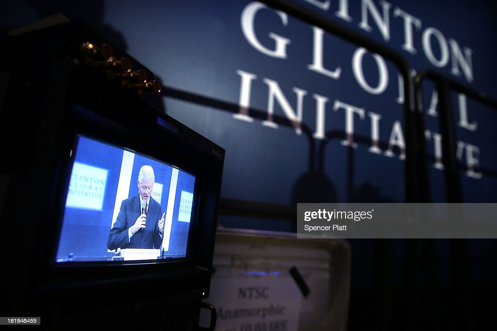 Former U.S. President Bill Clinton is shown speaking on a television monitor at the closing session of the Clinton Global Initiative (CGI) on September 26, 2013 in New York City. Timed to coincide with the United Nations General Assembly, CGI brings together heads of state, CEOs, philanthropists and others to help find solutions to the world's major problems.