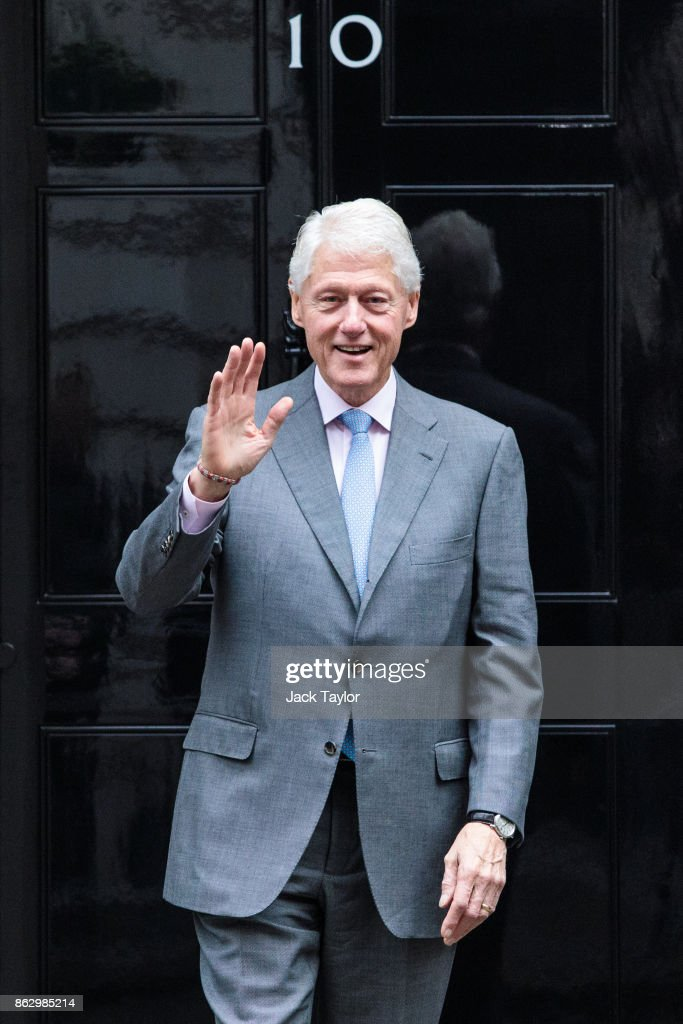 Former US President Bill Clinton leaves Number 10 Downing Street on October 19, 2017 in London, England. Mr Clinton met with British Prime Minister Theresa May to discuss the Northern Ireland political crisis.