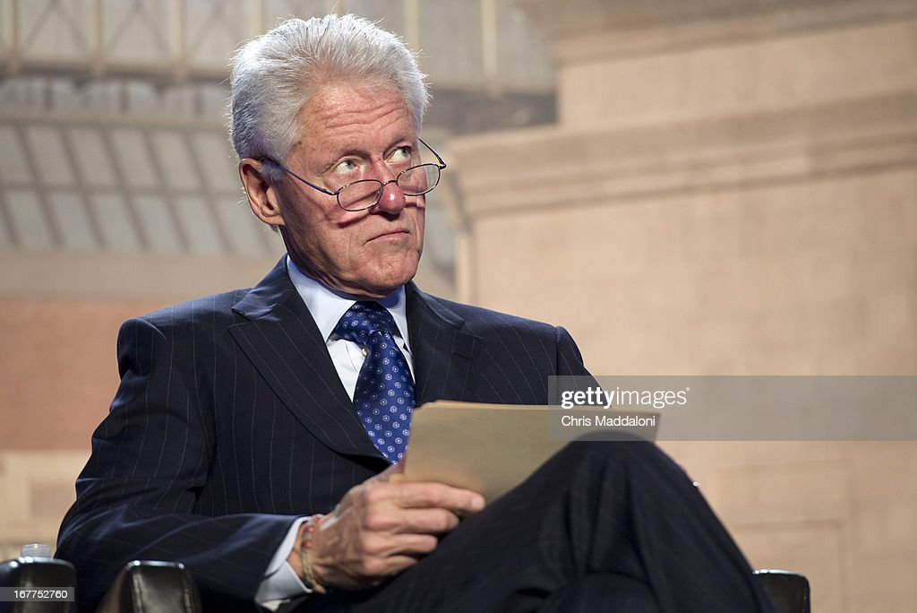 Former US President Bill Clinton prepares to speak at a ceremony for the Holocaust Memorial Museum's 20th anniversary in Washington, DC.