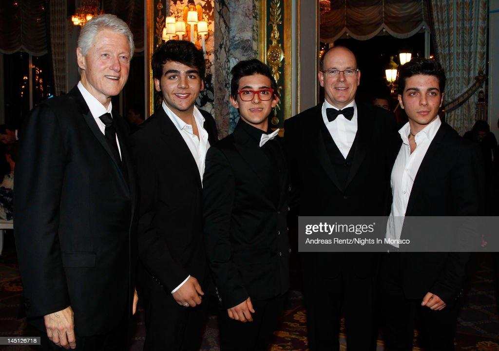 Former US President Bill Clinton Prince Albert II of Monaco and Ignazio Boschetto Piero Barone and Gianluca Ginoble from Il Volo attend the 'Nights...
