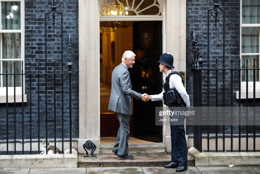 Former US President Bill Clinton Visits Downing Street To Discuss Northern Ireland