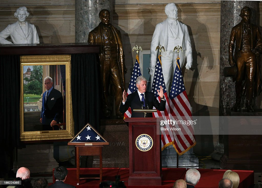 Former U.S. President <a gi-track='captionPersonalityLinkClicked' href=/galleries/search?phrase=Bill+Clinton&family=editorial&specificpeople=67203 ng-click='$event.stopPropagation()'>Bill Clinton</a> speaks about former House Speaker Tom Foley (D-WA), during a memorial service at the U.S. Capitol, October 29, 2013 in Washington, DC. President Obama and members of Congress gathered for a Congressional Memorial Service celebrating the life of former House Speaker Tom Foley (D-WA) who died on October 18.