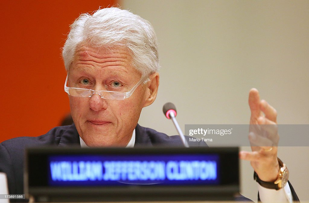 Former U.S. President <a gi-track='captionPersonalityLinkClicked' href=/galleries/search?phrase=Bill+Clinton&family=editorial&specificpeople=67203 ng-click='$event.stopPropagation()'>Bill Clinton</a> speaks at an informal meeting of the plenary of the General Assembly, on the commemoration of the Nelson Mandela International Day, at U.N. headquarters on July 18, 2013 in New York City. South Africa's first black president and anti-apartheid leader turns 95 today on his 41st day in the hospital.