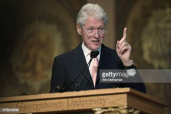 Former US President Bill Clinton speaks at Georgetown University April 21 2015 in Washington DC Clinton delivered the third part of a four part...